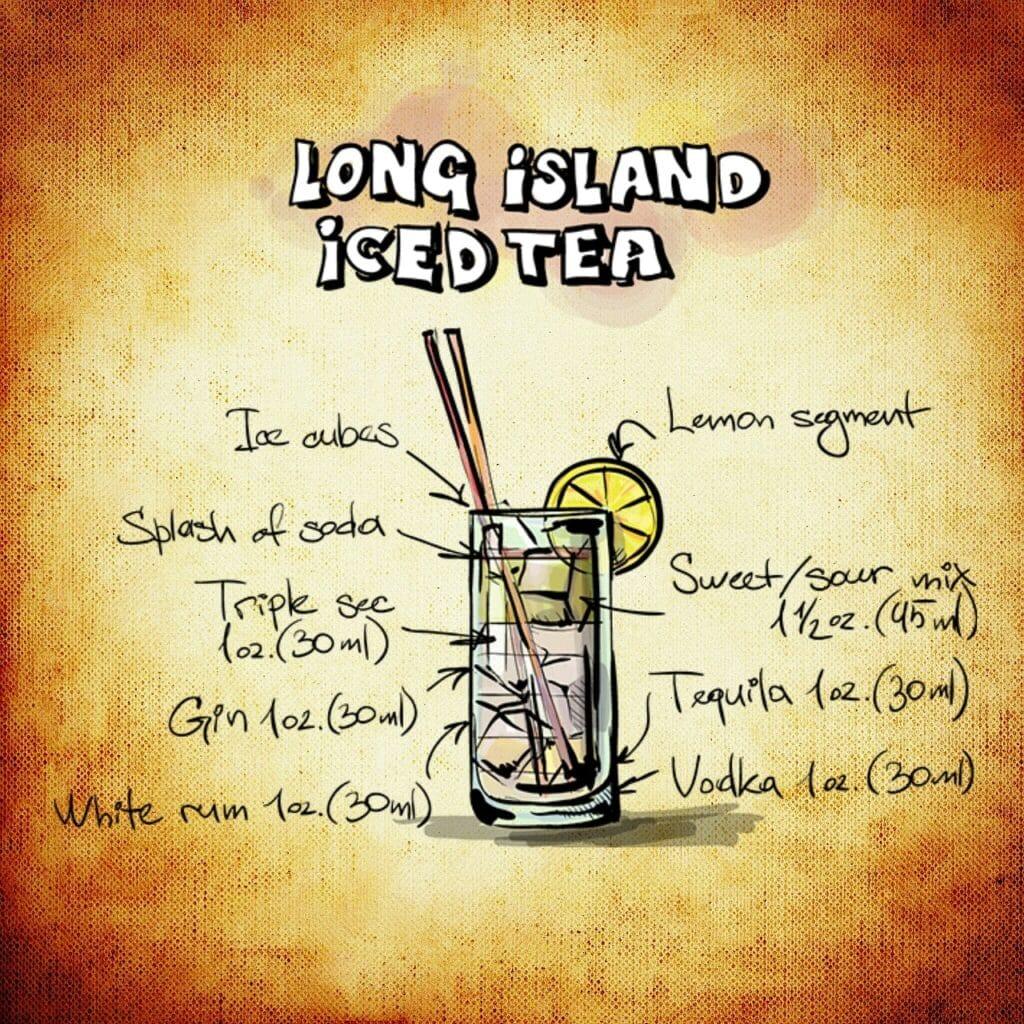 long island iced tea, cocktail, drink