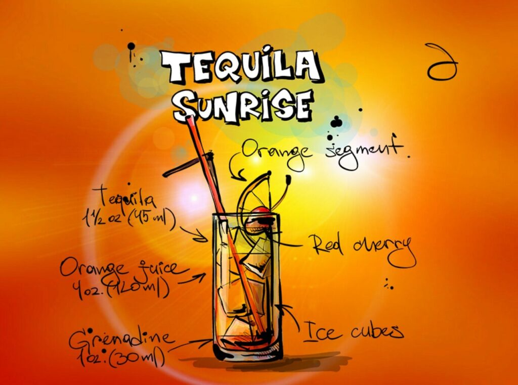 tequila sunrise, cocktail, drink